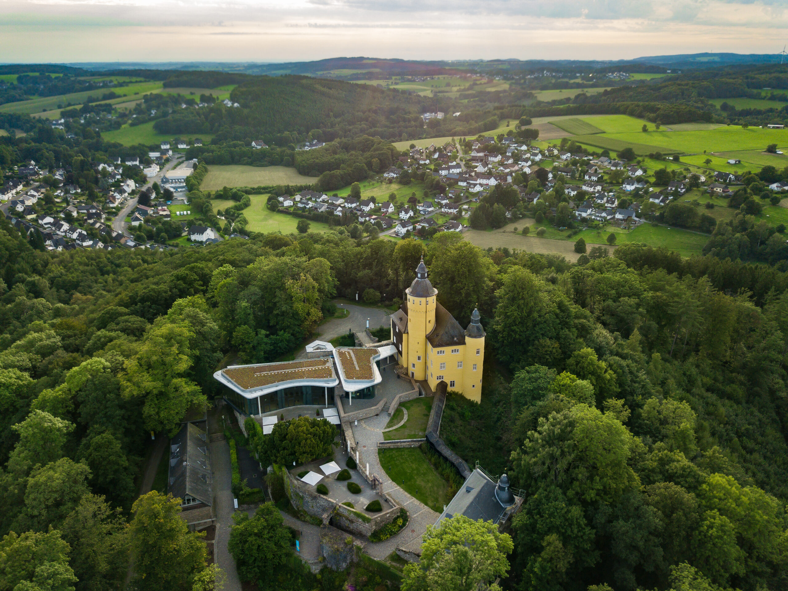 Aerial view from the castle Homburg in Nuembrecht-Germany